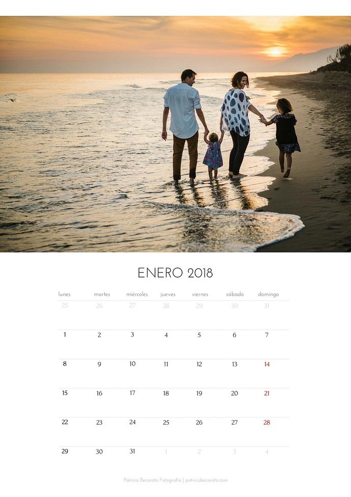 Calendario mensual 2018 Enero. Fotógrafa de familia en Málaga. Patricia Becaroto